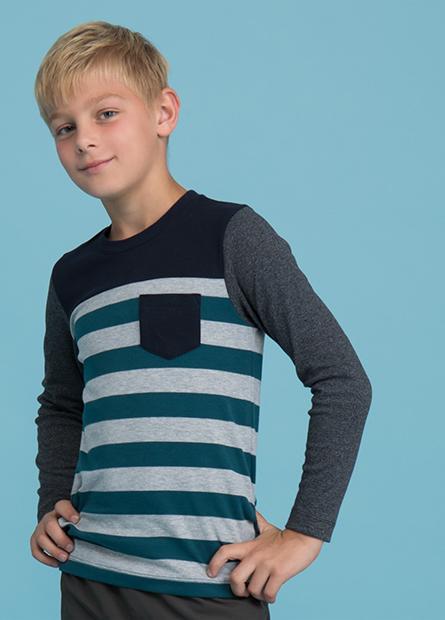 男童剪接條紋口袋上衣