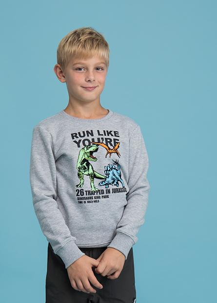 男童植絨恐龍內刷毛T