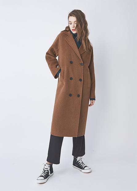 混紡羊毛雙排釦外套