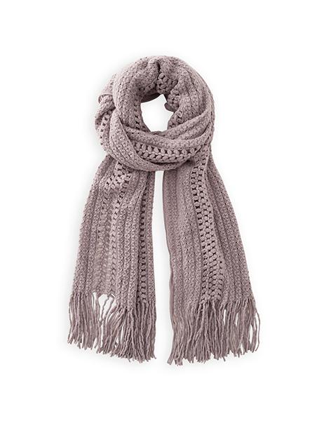 素色縷空織紋流蘇圍巾