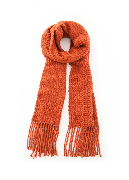 素色經編花紋流蘇圍巾
