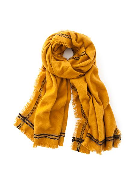 色條裝飾鬚邊流蘇圍巾