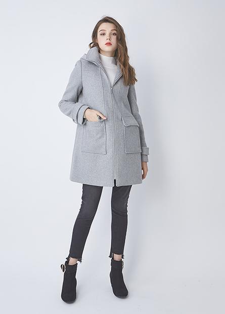 混紡羊毛大口袋外套