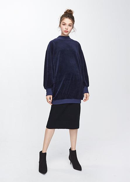 棉絨立領長版上衣