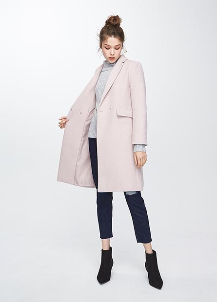 混紡羊毛西裝領長外套