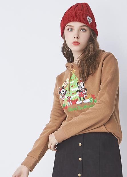 聖誕米奇米妮內刷毛帽T