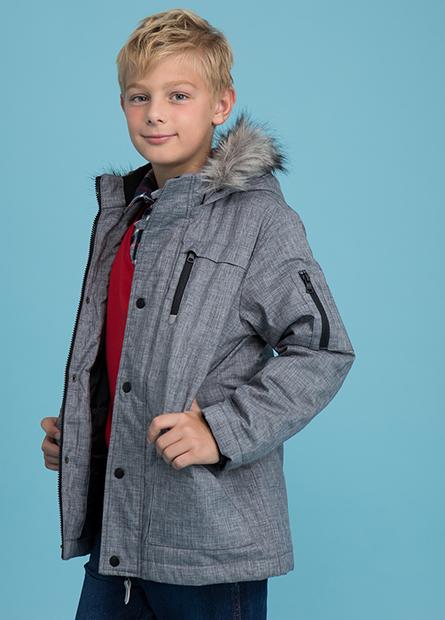 男童鋪棉可拆毛連帽外套