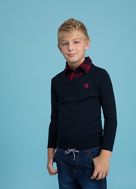 男童假兩件襯衫領毛衣