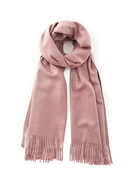 仿羊絨素色流蘇圍巾