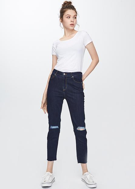 高腰緊身窄管牛仔長褲