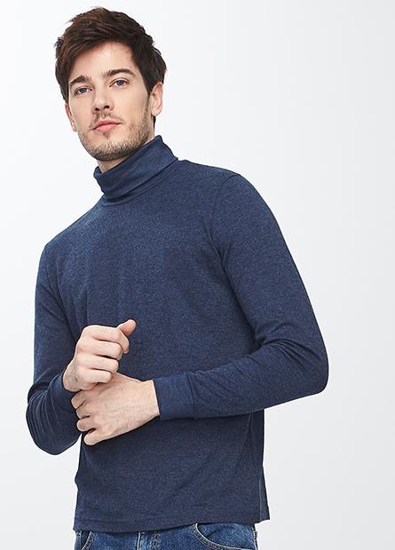 吸濕保暖素色翻領上衣