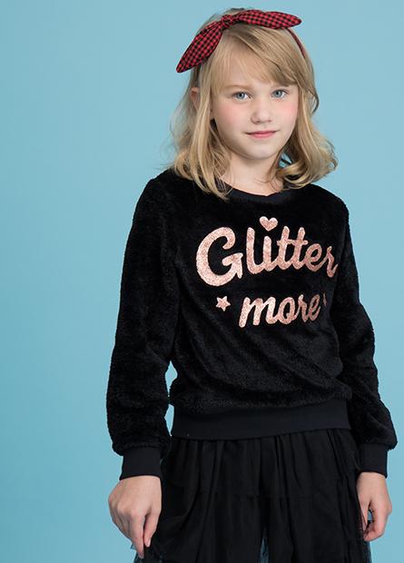 女童珊瑚絨金蔥字母T