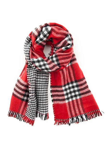 雙面格紋鬚邊圍巾