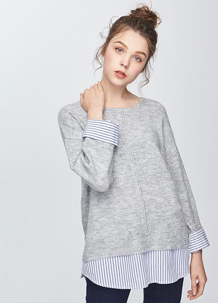 假兩件拼接毛衣