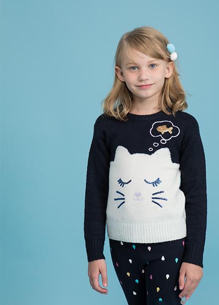女童貓咪提花亮片毛衣