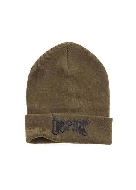 皮標繡字翻邊毛線帽