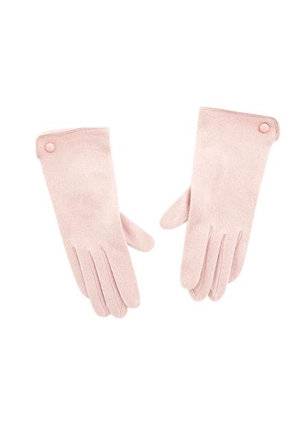 皮釦邊裝飾手套