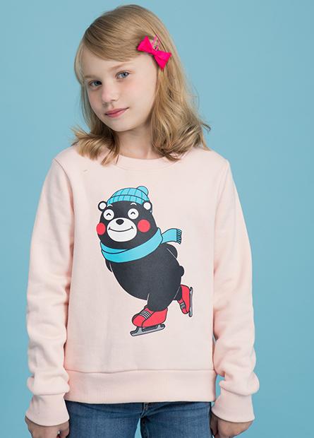 女童熊本熊滑冰內刷毛T