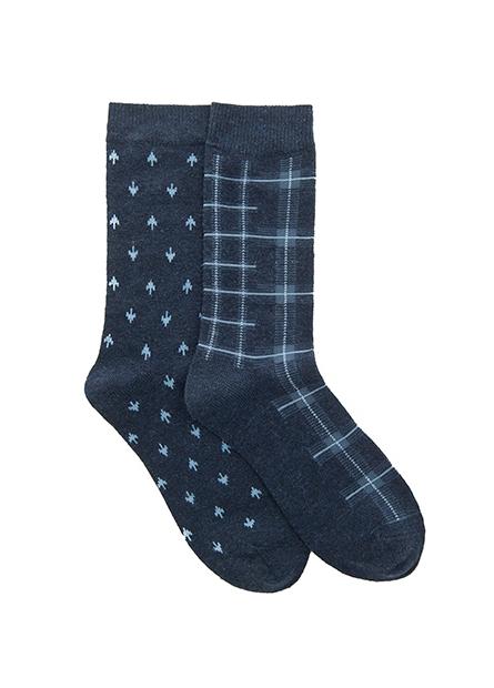 男混紡羊毛印花襪(二入)