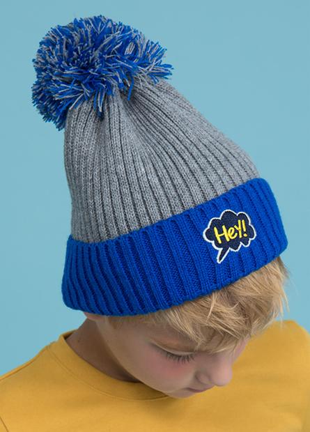 男童球球繡字翻邊帽