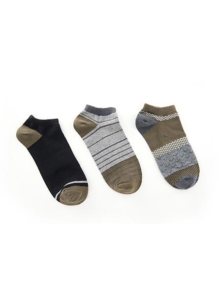 男配條踝襪(三入)