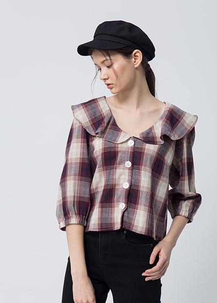 荷葉領格紋襯衫