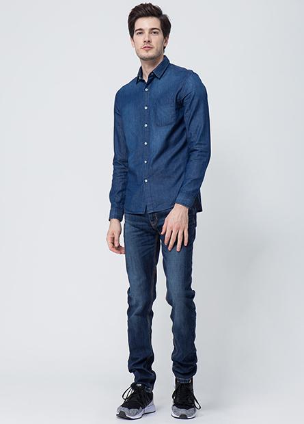 修身單口袋牛仔襯衫
