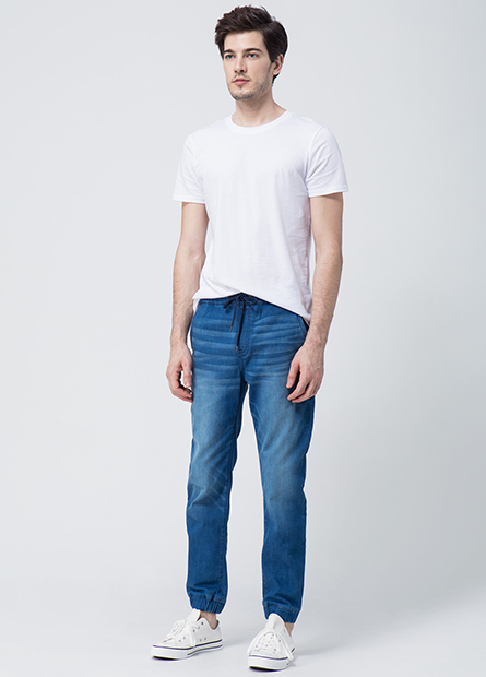 Skinny Fit束口牛仔長褲