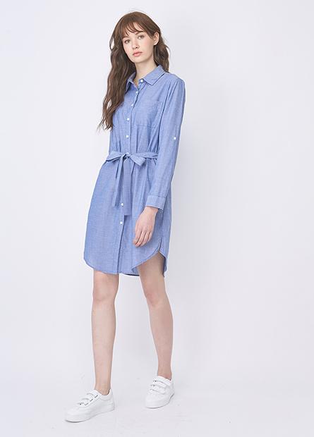 襯衫領腰綁帶洋裝