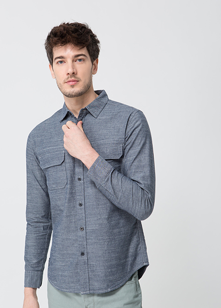 Slim Fit繡字標雙口袋襯衫