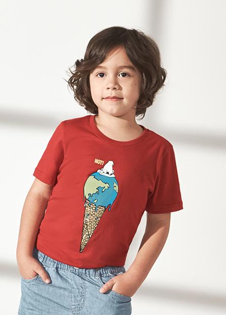 男童北極熊地球冰淇淋T