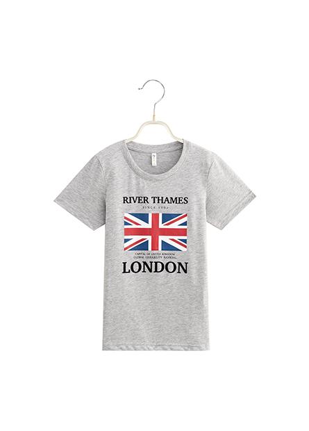 男童植絨字母英國旗T