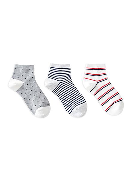 女配條短襪(三入)