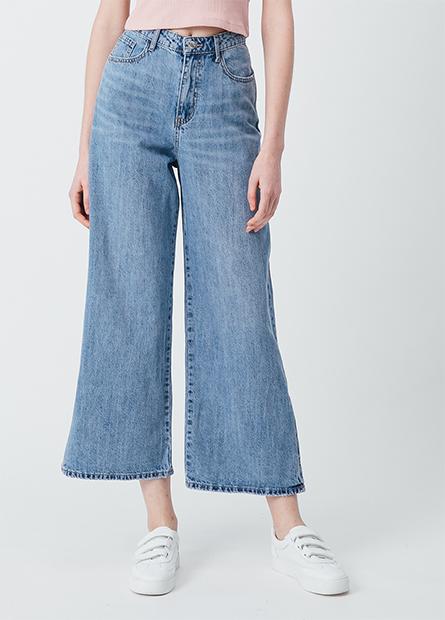 牛仔率性寬褲