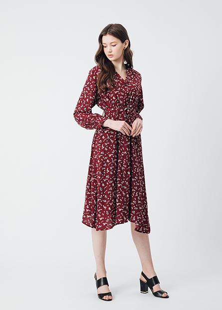 開襟印花腰綁帶長洋裝