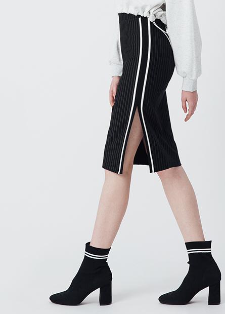 側開衩配條中長裙