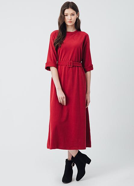 素色腰帶長洋裝