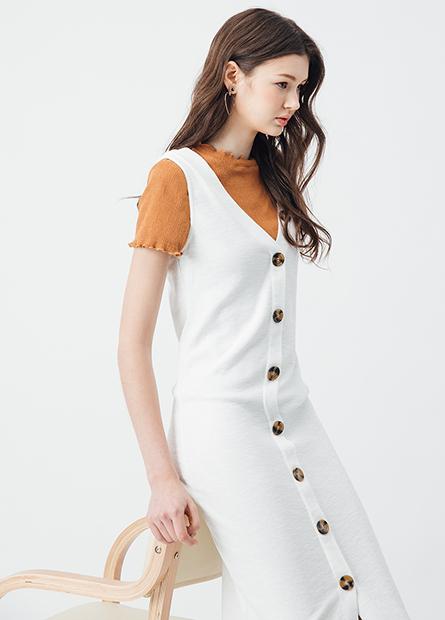V領排釦無袖長洋裝
