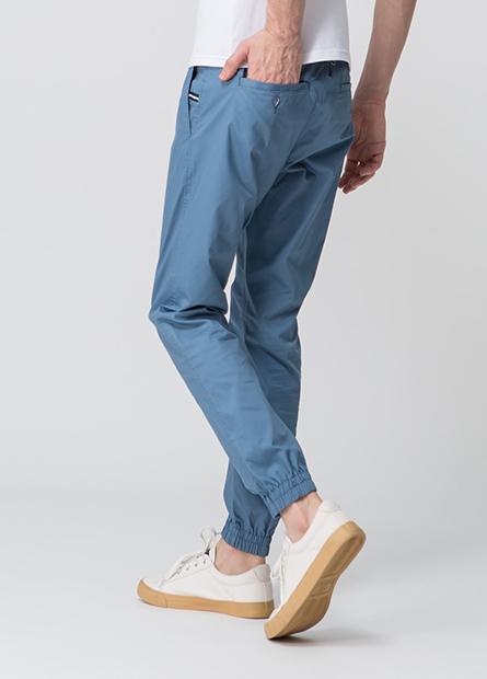 素色修身縮口長褲