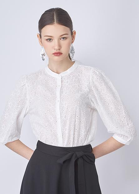 立領縷空繡花襯衫