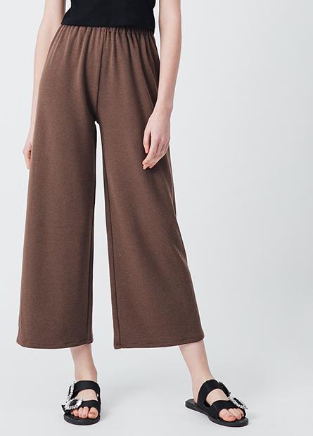 素色彈性腰頭寬長褲