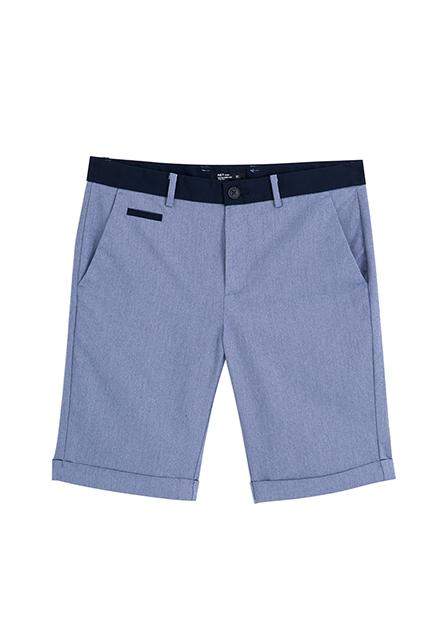 Slim Fit腰剪接反摺短褲
