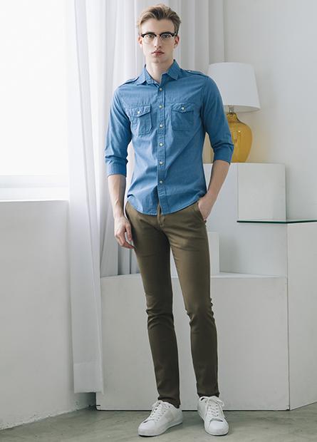 Slim Fit肩章雙口袋襯衫