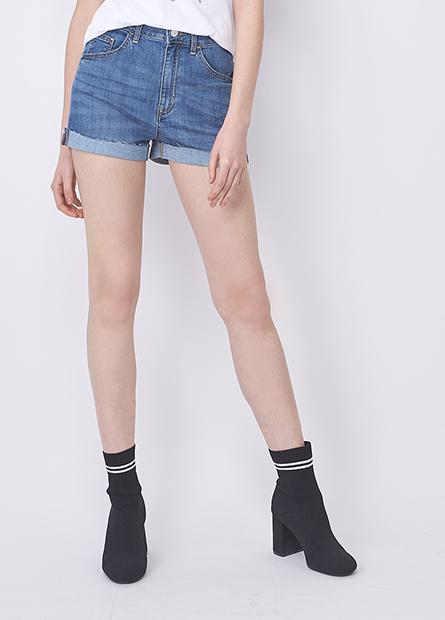 高腰反摺鬚邊牛仔短褲
