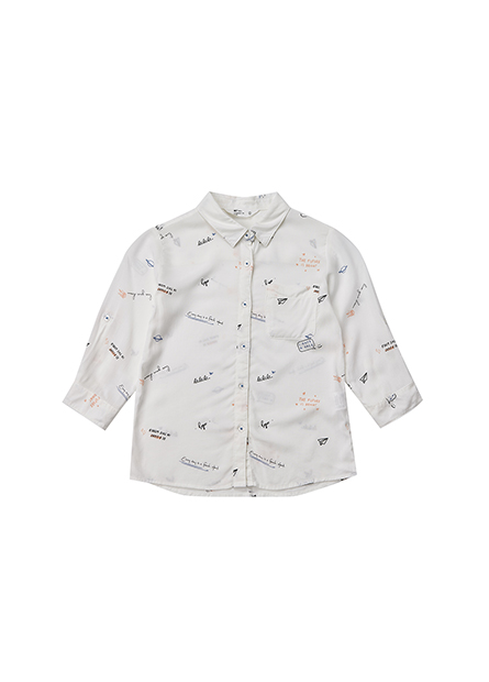女童單口袋捲釦袖襯衫