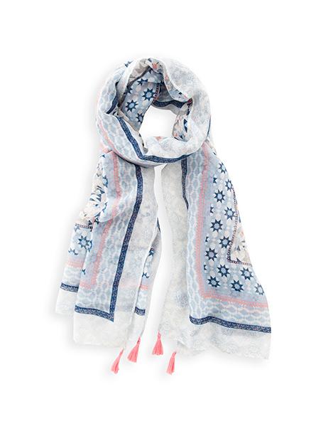 印花流蘇絲巾