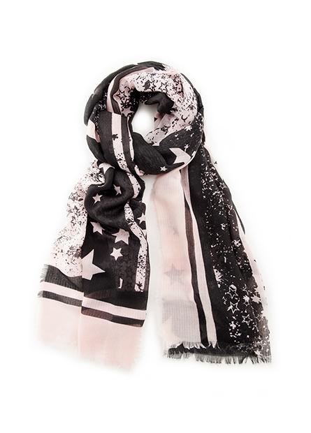 星星豹紋鬚邊絲巾