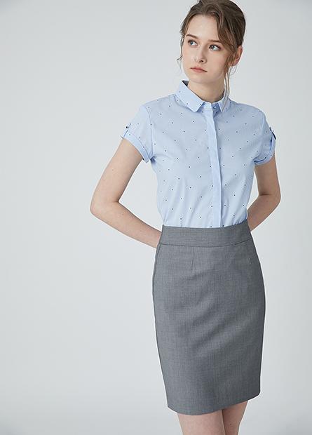 Regular fit及膝商務短裙