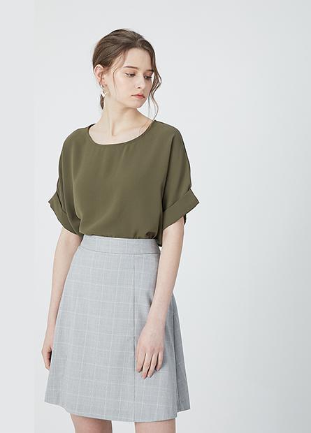 A字剪接商務短裙