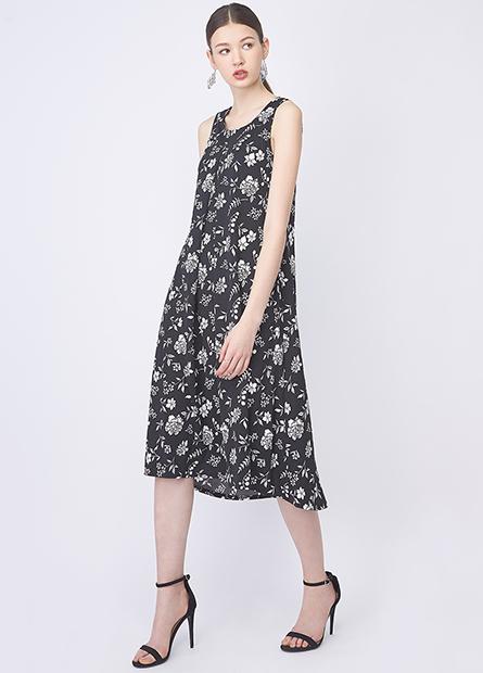 打摺V領無袖長版洋裝